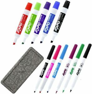12pc Expo Low Odor Ink Dry Erase Markers Set With Eraser Assorted Tips