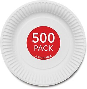 Stock Your Home 9 inch Paper Plates Uncoated White 500 Count