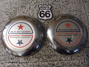 Lot Of 2 1959 1960 S American Racing Custom Chrome Wire Spoke Wheel Center Caps