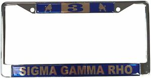 Sigma Gamma Rho Line Number Metal License Plate Frame For Front Back Of Car