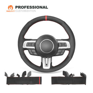 Hand Stitch Black Suede Car Steering Wheel Cover Wrap For Ford Mustang 2015 2020