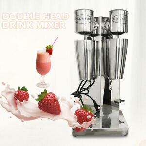 Commercial Milk Shake Machine Double Head Drink Mixer Stainless Steel 110v 180w