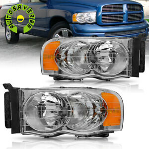 For 2002 2005 Dodge Ram 1500 2500 3500 Chrome Housing Amber Corner Headlights Us