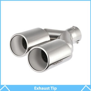 Chrome Stainless Steel Car Tail Rear Dual Exhaust Pipe Tip Muffler 2 5 Inlet