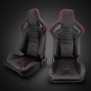 Universal Black Pvc Leather red Stitching Left right Racing Seats Pair