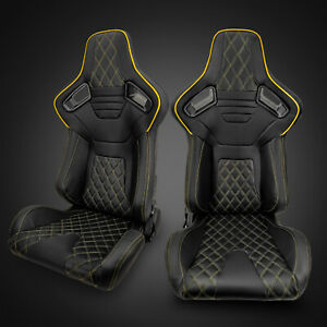 Universal Black Pvc Leather Yellow Stitching Left Right Racing Seats Pair