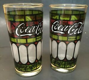 2 Vintage Coca-Cola Glass Stained Glass Style Drinking Glasses Barware Pair of 2