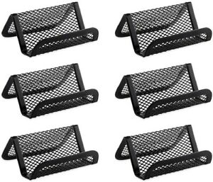 Metal Mesh Business Name Card Phone Holder Stand For Desk Office Black 6 Pack