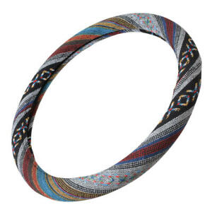 Woven Bohemian Cloth Style Steering Wheel Cover Colorful Pattern Universal