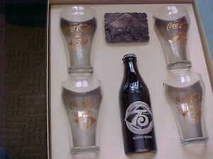 Coca-Cola 75th Anniv. Souvenir Box  Tray  Belt Buckle  4 Glasses & Bottle MIB