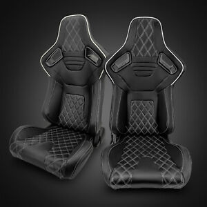 Universal Black Pvc Leather white Stitching Left right Racing Seats Pair