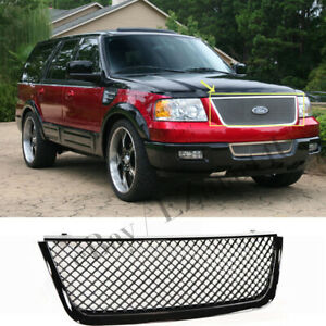 For Ford Expedition 2003 2004 2005 2006 Bumper Upper Hood Gloss Black Mesh Grill