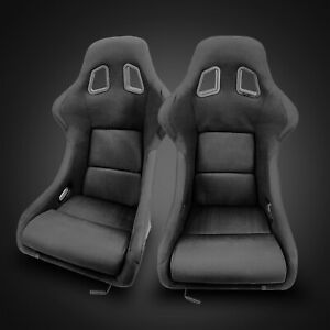 Universal Black Fabric Left right Fiberglass Wider Large Racing Bucket Seats