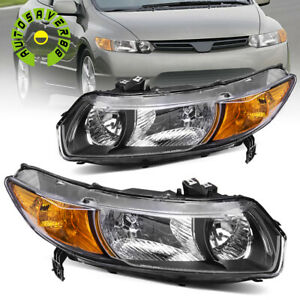 For 2006 2011 Honda Civic Coupe 2dr Black Housing Headlights Assembly Lamps Pair