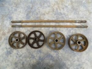 4 Factory Cart Wheels 2 Axles Cast Iron Vintage Lineberry Industrial Wheel A34
