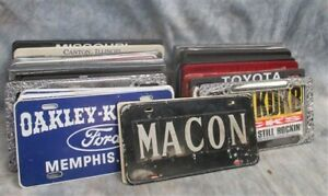 Lot Assorted License Plate Covers Frames Singles Pairs Vintage Advertising