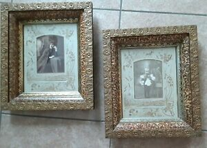 Two Antique Victorian Wood Gesso Sponge Marble Paint With Photos Picture Frames