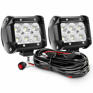 2x 4 Inch Cree Led Work Light Bar Spot Flood Off Road Truck Fog Lights Wire
