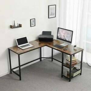 L Shape Wood And Metal Frame Computer Desk With 2 Shelves Brown And Black
