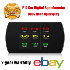 P12 Car Obd2 Head Up Display Digital Speedometer Voltage Fuel Consumption Alarm
