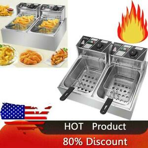 5000w 6 12l Dual Tank Stainless Steel Electric Fryer Commercial Home Deep Fryer