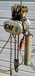 2 Ton Cm Lodestar Electric Link Chain Hoist Crane With Trolley 440 Volts 3ph