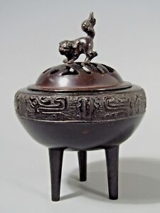 China Chinese Bronze Tripod Incense Burner W Lion Decor Lid Relief Border 1900