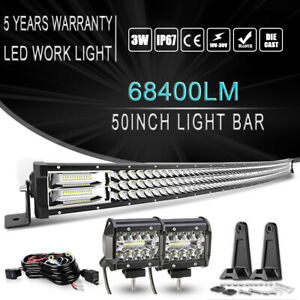 50 Inch 684w Curved Led Light Bar Combo 4in Pods For 1984 2001 Jeep Cherokee Xj