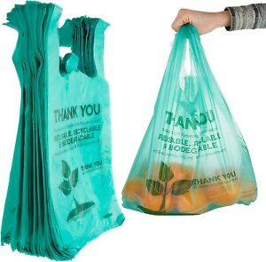 Stock Your Home Eco Grocery Bags 100 Count Biodegradable Plastic Grocery Bags