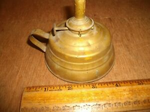 T407 Antique American Made Brass Alcohol Finger Lamp Candle