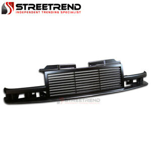 For 1998 2004 Chevy S10 Blazer Pickup Black Horizontal Front Bumper Grille Abs
