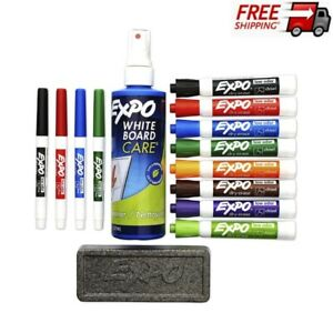 Dry Erase Set With 4 Fine Point 8 Chisel Tip Markers An Eraser Board Cleaner