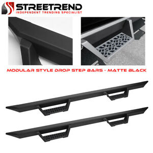 For 2007 2018 Silverado sierra Crew Cab Matte Black Modular Drop Step Nerf Bars