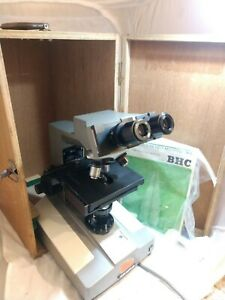 Olympus Bh Bhm Microscope 4 Objectives Eyepieces Precision Variable Light