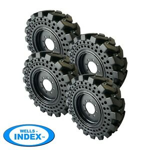 10x16 5 Solid Skid Steer Tires Flat Proof Set Of 4 With Rims 10 16 5