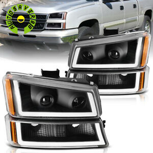 For 2003 2006 Chevy Silverado Black Housing Led Drl Headlight Headlamp Assembly
