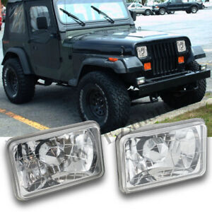 Pair Led Headlight Lamp 4x6 H4 Bulb Black Housing Hd Glass Lens Diamond Headlamp