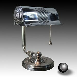 Vtg 1930 S Machine Age Art Deco Chrome Bankers Lamp Restored
