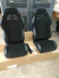 Universal Black Cloth Reclinable Bucket Seats Sport Racing Brackets Pair