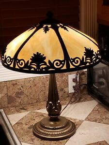 Antique Arts Crafts Slag Glass Panel Table Lamp Two Sockets Org Shade Base