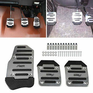 3pc Silver Universal Pedals Pad Cover Car Interior Decor Car Accessories Durable