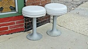 Restaurant Ice Cream Counter Shop Vintage 1940 S 50 S Swivel Stool 2 Available