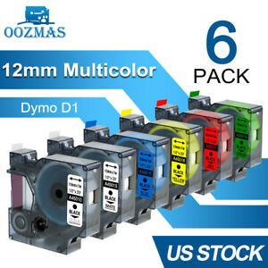 6pk Compatible Dymo D1 45013 12mm Label Tape For Dymo Labelmanager 160 280 420p