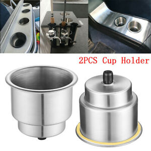 2pcs Universal Cup Drink Holder Marine Boat Car Truck Camper Rv Stainless Steel