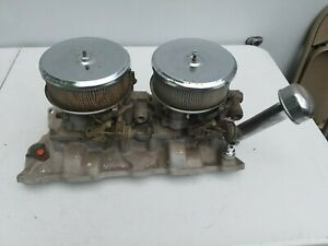 Weiand Chevy Chevrolet Dual quad Sbc 327 Intake With Holley Carburetors Hotrod