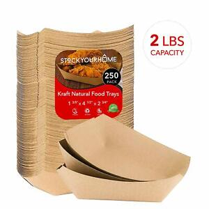 Stock Your Home Paper Food Boats 250 Pack Disposable Brown Tray 2 Lb