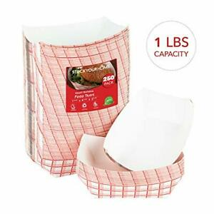 Stock Your Home Paper Food Boats 250 Pack Disposable Checkered Tray 1 Lb