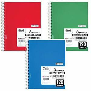 Assorted Spiral 3 Subject College Ruled Paper 120 Sheets 10 1 2 X 8 05748