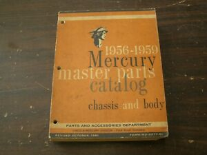 Original Mercury Master Parts Book Body Chassis Parts 1956 1957 1958 1959