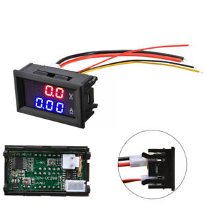 Digital 10a Dc 100v Voltmeter Ammeter Blue Red Led Dual Volt Amp Meter Gauge